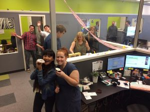 Future Access Staff celebrating employees birthdays. Workplace birthday. employee appreciation