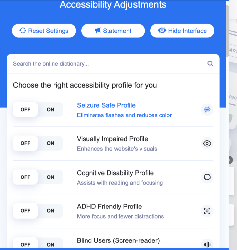 Accessibilty Tool Bar showing adjustments for seizure, cognitive, ADHD, Blind Users. Just some of the many features that can be adjusted.